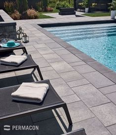 Accentuate your pool by using slabs and pool coping in contrasting colours Swimming Pool Tiles, Swimming Pools Backyard, Swimming Pool Designs, Pool Decks, Pool Coping Tiles, Lap Pools, Indoor Pools, Pool Pavers, Backyard Pool Landscaping