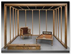 "Egyptian Queen Hetepheres bed and furnishings Above, a full-scale reconstruction (the original was gold plated wood) of the bed canopy and furnishings of Queen Hetepheres, 2500 BCE. Archeological fragments suggest the canopy was hung with linen drapery stored in the ""curtain box,"" foreground. Linen draperies protected royal sleepers from insects and provided privacy. The first ""room-within-a-room?"" Photo: Museum of Fine Arts, Boston"
