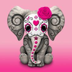«Pink Day of the Dead Sugar Skull Baby Elephant» de jeff bartels