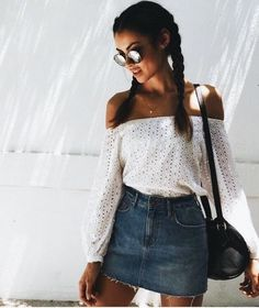 Off the shoulder lace top with denim skirt.