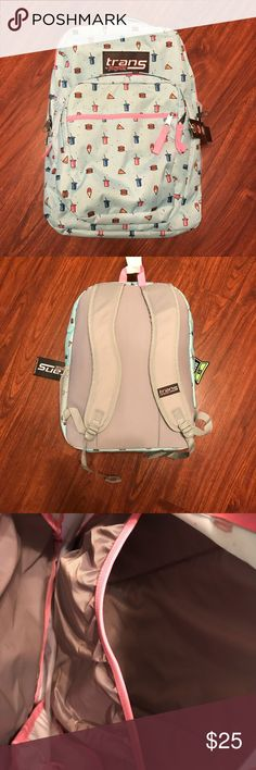 FINAL MARKDOWN!!!!NWT backpack NWT trans by Jansport light blue and pink with small food icons. Features 4 zippered pouches, side mesh pouch for water bottle, adjustable straps, padded back and inside laptop sleeve that fits a laptop up to 15 inches. Approximately 12 x 8 x 17. From a smoke free home. As always, you'll get a better deal if you bundle! All reasonable offers are considered! Jansport Accessories Bags