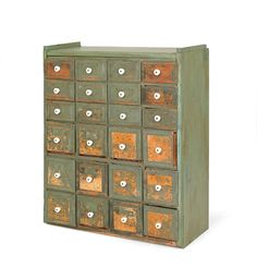 """Painted pine apothecary cabinet, ca. 1900, 34 1/2"""" h., 28"""" w."""