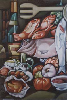 """""""Gastronomía"""", óleo sobre lienzo, 65 x 54 cm. José Ramón, 2001."""