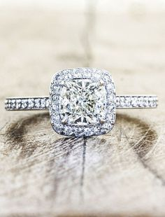 unique engagement rings, halo, cushion cut diamond | Ken & Dana Design