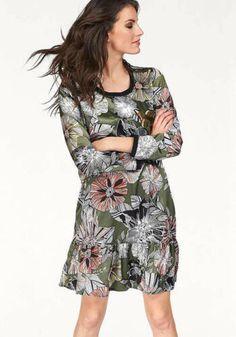 Druckkleid RICK CARDONA dunkelblau bunt Minikleid Blumen Kleid Volants