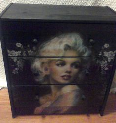 Custom Made Furniture Marilyn Monroe Floral 3 Drawer Chest Nightstand Crafted by Kasondra