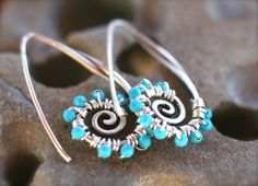 Sterling Silver Spiral Sleeping Beauty Turquoise Gemstone Wire Wrapped Earrings