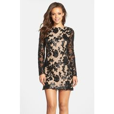 Dress the Population 'Grace' Sequin Lace Long Sleeve Shift Dress ($228) ❤ liked on Polyvore featuring dresses, black, long sleeve lace cocktail dress, lace dress, shift dress, long sleeve shift dress and sequin cocktail dresses