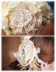 Vintage Wedding Hair Flower - this is like what a friend is making for me! :)