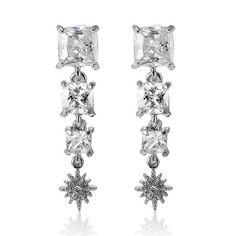 Zircon Star Square Long Earrings