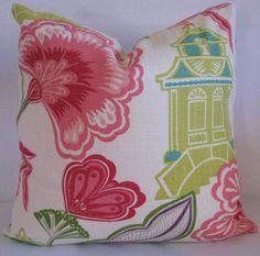 Emperor's Garden Blossom Design Pillow Cover 20x20,  Designer Accent Pillow, Toss Pillow, Lumbar Pillow