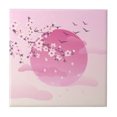 Shop Cherry Blossoms Japanese Landscape Ceramic Tile created by NinaBaydur. Cherry Blossom Drawing, Anime Cherry Blossom, Cherry Blossom Wallpaper, Cherry Blossom Tattoos, Cherry Blossom Decor, Japan Painting, Pink Painting, Sakura Haruno, Japanese Blossom
