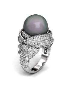 """CPAA'S International Pearl Design Contest winners Stanislav Drokin of the Ukraine received the Luster Award for this """"Obi"""" ring. The Luster Award is given to the entry that has the most overall appeal for the retail marketplace. Swan Jewelry, High Jewelry, Pearl Jewelry, Jewelry Art, Jewelry Design, Fashion Jewelry, Pearl Rings, Jewellery, Pearl And Diamond Ring"""