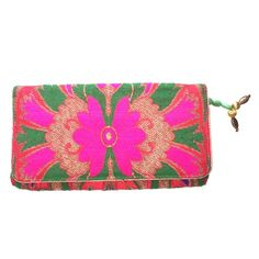 """Bright clutch Bright pink, red, green, and purple clutch with tassel. 8.25"""" wide x 5"""" height. Has 2 inner slots inside the clutch. Bought in India. Is a cotton/poly fabric Bags Clutches & Wristlets"""