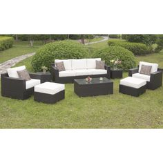 Make the outdoors your go-to gathering place with this all-inclusive patio seating and table set. The many pieces offer customizable seating and table arrangements to ensure everyone has a place to sit and place their drink.