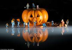 David Gilliver's little people prepare a pumpkin in his art work, Halloween Preparations...