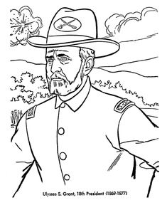 President Ulysses S. Grant free printable US Presidents coloring pages learning activities and coloring sheets. Homeschool US Presidents learning aids Presidents In Order, Happy Presidents Day, American Presidents, American History, George Washington Fun Facts, George Washington Birthday, Monster Coloring Pages, Animal Coloring Pages, Coloring Pages For Kids