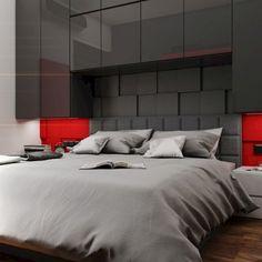 Wizualizacja. Sypialnia w prywatnym mieszkaniu. Projekt PeKa Studio