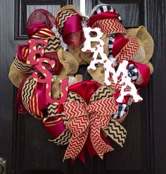 House divided burlap wreath//Chevrons//Alabama//FSU