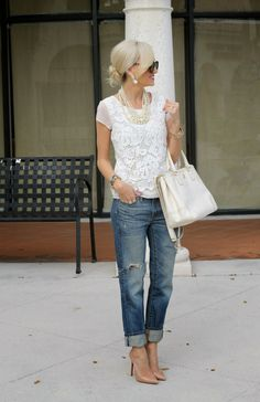 Laced-up: White lace top + distressed denim