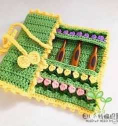 Coqueta bolsita para tus ganchillos Crochet Shawl, Crochet Doilies, Crochet Flowers, Mandala, Lana, Crochet Necklace, Crafts For Kids, Blanket, Tricot