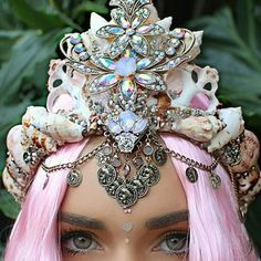 Image about hair in Mermaid Aesthetic by Glitzy Mom Friend Mermaid Crown, Mermaid Beach, Mermaid Diy, Pastel Hair, Pink Hair, Shell Crowns, Pink Images, Mermaid Jewelry, Magical Jewelry