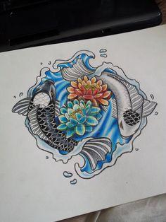 coy fish ying and yang tattoos - but circling roses for grandparents