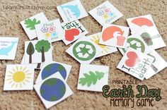 Open Earth Day Memory Printable Earth Day is coming up, something that my daughter has reminded me of a few times this past week. To gear her up even more, we played this fun memory game I made. Earth Day Games, Earth Day Activities, Preschool Activities, Preschool Classroom, Classroom Ideas, Bingo, Earth Day Crafts, Love The Earth, Arbour Day