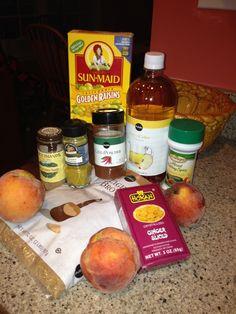 or freeze. 4 lbs peeled & chopped ripe peaches, 1 c golden raisins ...