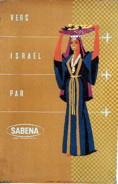 Vers Israel par Sabena - circa 1950 vintage poster advertising travel to Israel with Sabena Airways