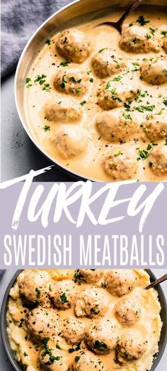 Easy Turkey Swedish Meatballs are a lightened-up version of traditional Swedish Meatballs. Served in a delicious creamy sauce. Serve them over mashed potatoes rice or egg noodles.// ground // recipe // baked // lightened up Ground Turkey Meatballs, Turkey Mince, Turkey Gravy, Turkey Sausage, Mince Recipes, Cooking Recipes, Healthy Recipes, Minced Turkey Recipes, Gourmet