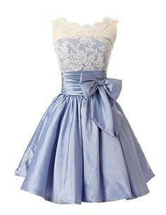 Hot Sale Sweet A-Line Scoop Corset Bow Sash Taffeta Ruffles Blue Homecoming Dress