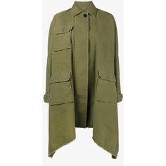 Valentino Long Caban Parka Coat (24.570.545 IDR) ❤ liked on Polyvore featuring outerwear, coats, button coat, oversized coat, long sleeve coat, long oversized coat and green parka coat