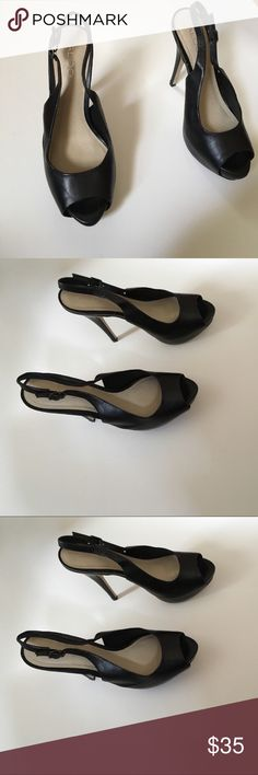 Aldo heels 7.5 Gently used and worn once. Heel height 4.5 in and platform height 1 in. Slight scuff on inside of right shoe but there are thin pads on bottom to keep shoes from skidding on ground. Aldo Shoes Heels
