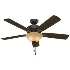 Hunter Fletcher 52-in Premier Bronze Downrod or Close Mount Indoor Ceiling Fan with Light Kit