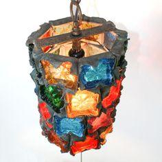 1960s VTG Feders Brutalist Glass Hanging Swag Lamp Pendant Light Fixture Retro Pendant Light Fixtures, Pendant Lamp, Mosaic Glass, Stained Glass, Googie, Retro, Sweet Home, Swag, Mid Century