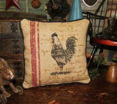 "Primitive Antique Vtg Style Burlap Rooster Chicken Hen Throw Pillow 9"" Tuck #NaivePrimitive"