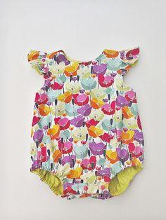 Reversible Poppy Bubble Romper, Sunsuit, Colourful Poppy Flowers Summer Romper  £26.00
