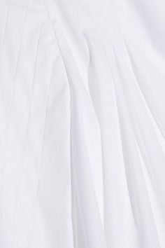 Oscar de la Renta - Pleated Stretch Cotton-blend Blouse - White - US10