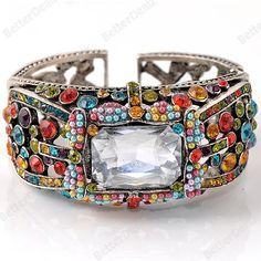 Faceted Crystal Colorful Rhinestone Hinged Cuff Bracelet Bangle Gift
