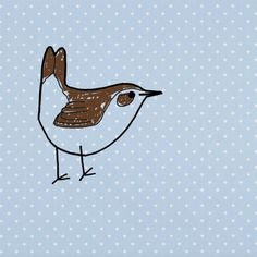 'A Tiny Brown Bird' Screenprint on Wallpaper by Lucy Gough