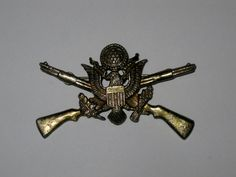 WWII US Army Eagle Crossed Rifles Sweetheart by ThatVintageFlair, $15.00