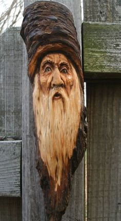 wood spirit carving lodge cabin decor pine knot wizard in Art, Direct from the…