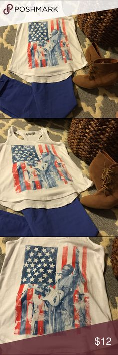 Old navy racerback tank Super cute outfit!! This is for the white old navy racerback tank with red and blue design. Jimi Hendrix. Size medium. Old navy collectabilitees. Perfect for the 4th!!  Everything shown in pic is for sale in my closet. Make a bundle and make a deal!! Old Navy Tops Tank Tops