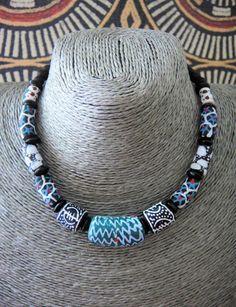 Ethnic Beaded Necklace Tribal Choker African Krobo by ElPourElle