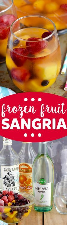 This Frozen Fruit Sangria is a simple formula that makes it EASY to make a whole pitcher of sangria for a party. You'll use this OVER AND OVER!
