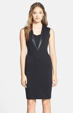 Marc New York by Andrew Marc Faux Leather & Ponte Sheath Dress available at #Nordstrom