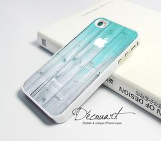 iPhone 4 case - mint wood pattern with apple logo  #etsy #teal #unique #stylish