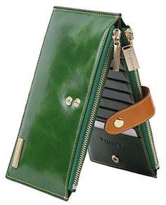 Borgasets RFID Blocking Women's Genuine Leather Wallet Credit Card Holder Zipper Purse