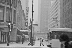 Chicago Goodman Theater on a Snowy Winter day